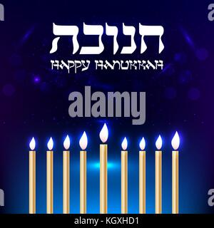 Happy Hanukkah greeting card. Typography design. Candlestick with nine candles. Vector illustration. - Stock Photo