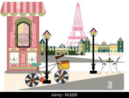 parisian scene with bicycle - Stock Photo