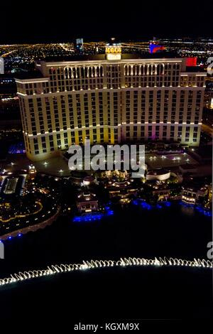 LAS VEGAS, AUGUST 6: View from the top of the Bellagio hotel at night, with its beautiful water games on August - Stock Photo