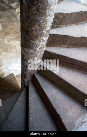 spiral staircase, Bhadra Fort, Ahmedabad, Gujarat, India, Asia - Stock Photo