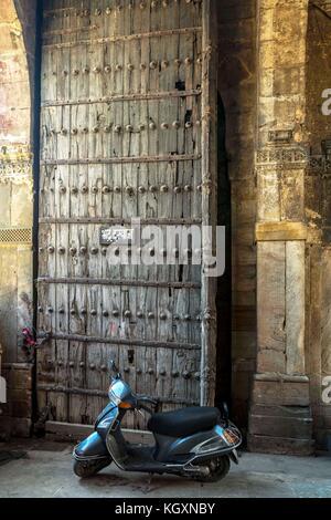 entrance gate of bhadra fort, ahmedabad, Gujarat, India, Asia - Stock Photo