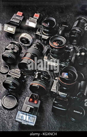 35mm film camera and lenses - Stock Photo