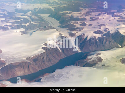 Baffin Island (Nunavut), Canada: an aerial shot of glaciers near Pond Inlet. - Stock Photo