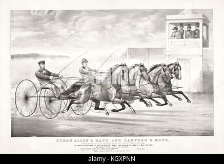Old illustration of a trotting horse chariots. By Cameron, publ, in New York, ca. 1870 - Stock Photo