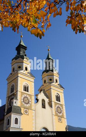 The Beautiful Cathedral of Santa Maria Assunta and San Cassiano in Bressanone. Brixen / Bressanone is a town in - Stock Photo