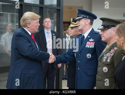 U.S. President Donald Trump (left) greets U.S. Pacific Command (USPACOM) Chief of Staff Kevin Schneider during an - Stock Photo