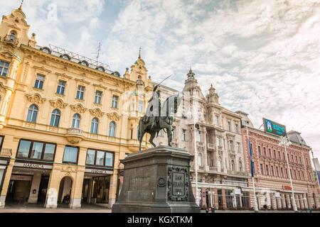 Ban Jelacic Square in Zagreb Croatia - Stock Photo