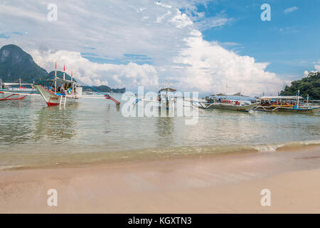Bech in El Nido Town Palawan Philippines - Stock Photo