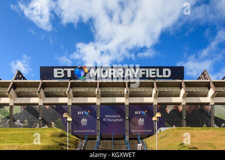 BT Murrayfield is a sports stadium primarily used for rugby union matches.  The stadium is the home of the Scottish - Stock Photo