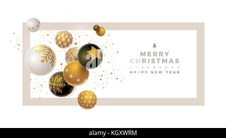 Abstract Christmas and new year greeting card design with 3d white, black and gold Christmas balls . Elements are - Stock Photo