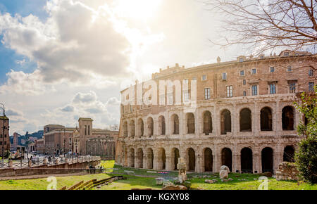 Rome, Italy, february 11, 2017: The ancient roman Theatre of Marcellus (Teatro di Marcello) in Rome in a sunny day. - Stock Photo