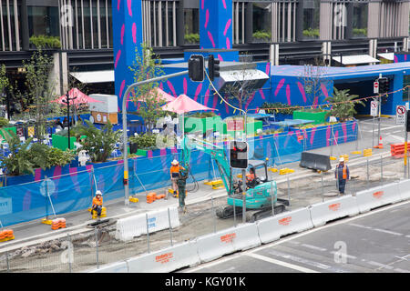 Construction works on the road at Barangaroo office development in Sydney,Australia - Stock Photo