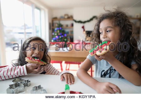 Girl sisters eating decorated Christmas gingerbread cookies in kitchen - Stock Photo