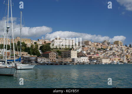 View of Sciacca from the harbour, Sicily, Italy - Stock Photo
