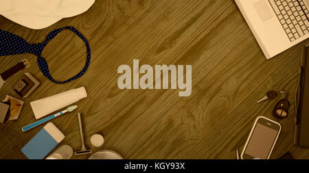 Men's accessories  isolated on wooden background. - Stock Photo
