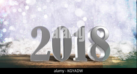 New year 2018 on a wooden surface, Christmas snowy bokeh background - Stock Photo