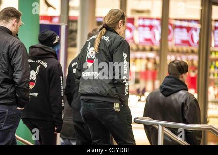 Munich, Bavaria, Germany. 10th Nov, 2017. A neo-nazi group known as the ''Soldiers of Odin'' began vigilante street - Stock Photo