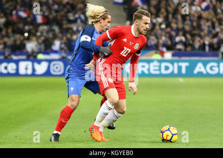 Paris, France. 10th Nov, 2017. Aaron Ramsey in action during the friendly soccer match between France and Wales - Stock Photo