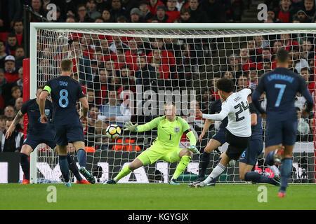 London, UK. 10th Nov, 2017. Leroy Sane of Germany shoots during the International Friendly match between England - Stock Photo