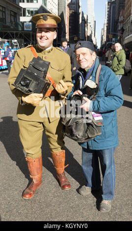 New York, NY - November 11, 2017: Atmosphere with vintage and new cameras during New York 99th annual Veterans Day - Stock Photo
