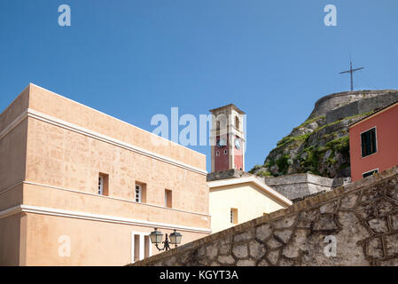 bell tower and buildings inside the old fort in the city of Corfu in Greece - Stock Photo