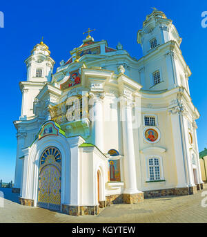 Panoramic view on frontage of Dormition Cathedral of Pochaev Lavra, Ukraine - Stock Photo