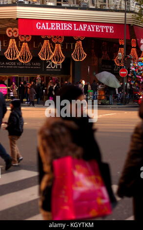 AJAXNETPHOTO. DECEMBER, 2008. PARIS, FRANCE. - SHOPPING IN PARIS - GALERIES LAFAYETTE, FAMOUS CITY STORE FOR SHOPPERS - Stock Photo