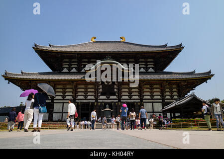 Nara, Japan -  May 29, 2017: Great Buddha Hall part of the buddhist Todai-ji  temple - Stock Photo