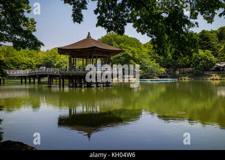 Nara, Japan -  May 29, 2017: Ukimido Gazebo Pavilion on Sagiike Pond, Nara Park, Japan - Stock Photo