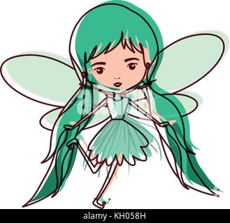 girly fairy flying with wings and pigtails hairstyle in watercolor silhouette - Stock Photo