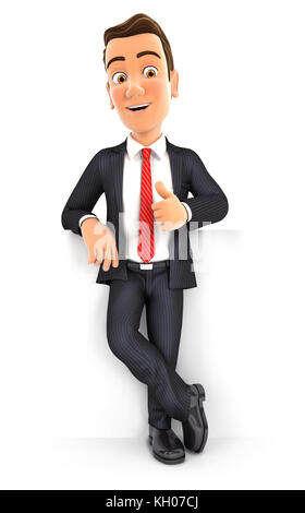 3d businessman standing in front of wall with thumb up, illustration with isolated white background - Stock Photo