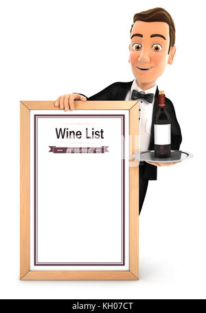 3d waiter with wine list, illustration with isolated white background - Stock Photo