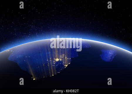 World globe from space. 3D Rendering. Stars my own photo. Elements of this image furnished by NASA - Stock Photo