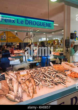 SAINTES, FRANCE:  Fresh Fish for sale at a indoor Market - Stock Photo