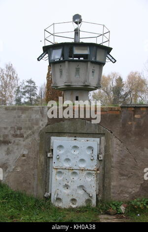 Hötensleben, Germany - November 9, 2017:  An old watchtower of the GDR border guards at the Border Memorial Hötensleben. - Stock Photo