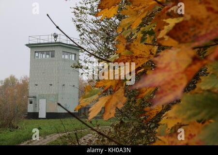 Hötensleben, Germany - November 9, 2017:  An old watchtower of the GDR border guards at the Border Memorial Hötensleben. - Stock Photo