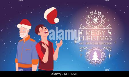 Two Men Wearing Santa Hats Christmas And New Year Holidays Celebration Poster - Stock Photo