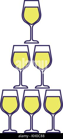 pyramid of glass flute goblets alcoholic champagne drink - Stock Photo