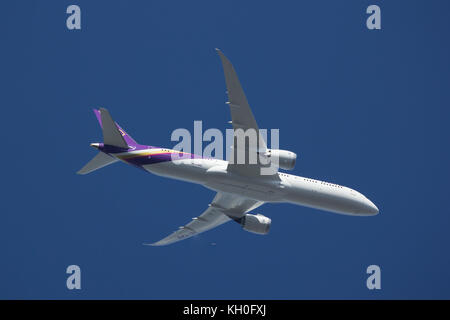CHIANG MAI, THAILAND -OCTOBER 11 2017: Boeing 787-900 Dreamliner HS-TWB of Thaiairway. Take off from Chiangmai airport - Stock Photo