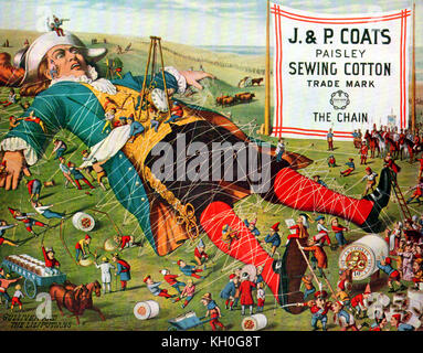 1880 -GULLIVER'S TRAVELS & LILLIPUT - A vintage coloured advertisement for  J & P Coats Paisley Sewing Cotton  showing - Stock Photo