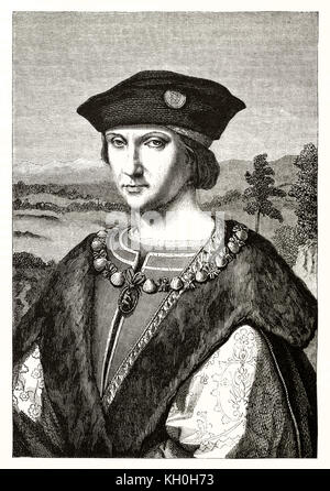 Engraved reproduction of Charles VII portrait. After Andrea Solario, publ. on Magasin Pittoresque, Paris, 1847 - Stock Photo