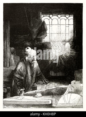 Old engraved reproduction of an etching by Rembrandt depicting Doctor Faustus. By Marvy and Gouchar, publ. on Magasin - Stock Photo