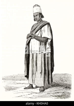 Old engraved portrait of Fula woman Western Africa (Senegal). By Nousveaux, publ. on Magasin Pittoresque, Paris, - Stock Photo