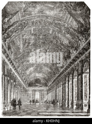 Old view of the Hall of Mirrors in the Palace of Versailles, France. By Desmaresi and Piaud, publ. on Magasin Pittoresque, - Stock Photo
