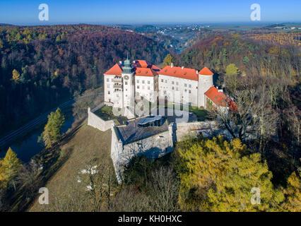 Historic castle Pieskowa Skala near Krakow in Poland. Aerial view in fall. - Stock Photo