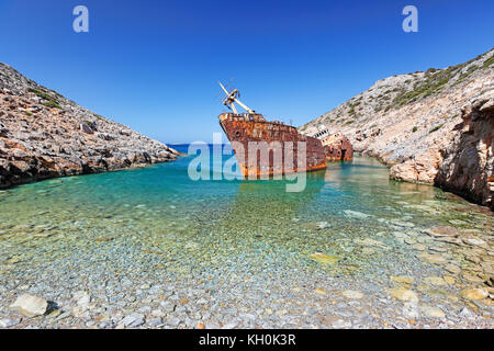 Olympia shipwreck of Amorgos island in Cyclades, Greece - Stock Photo