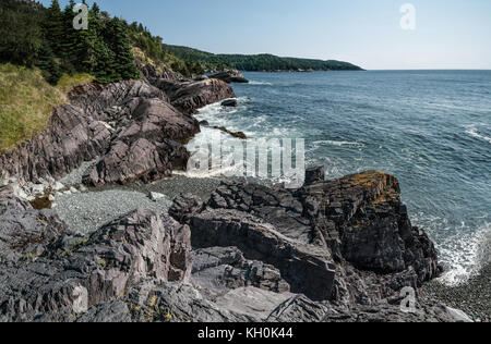Rocky Shoreline in Newfoundland:  A view of Admiral's Cove on the eastern shore of Newfoundland south of St. John's. - Stock Photo