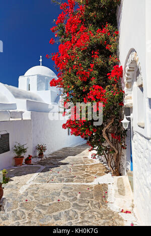 The streets of Chora in Amorgos island, Greece - Stock Photo