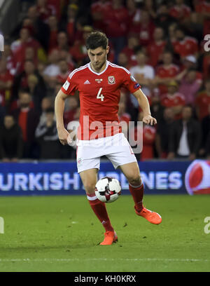 Action during the Wales vs Republic of Ireland 2018 FIFA World Cup Qualifier  Featuring: Ben Davies Where: Cardiff, - Stock Photo