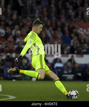 Action during the Wales vs Republic of Ireland 2018 FIFA World Cup Qualifier  Featuring: Wayne Hennessey Where: - Stock Photo